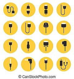 cabo, fio, computador, e, plugue, ícones, jogo