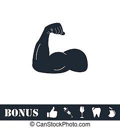 cabo, forte, braço, ícone, apartamento