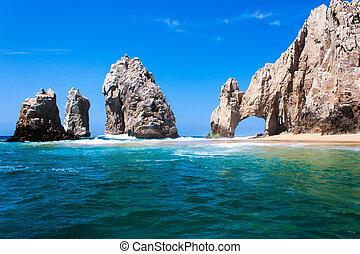 cabo, mexikó, tipp, peninsula., képződés, arco., kő, baja,...