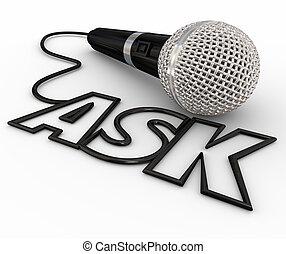 cabo, microfone, respostas, inquérito, perguntas, perguntar