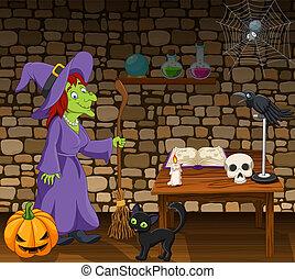 cabo vassoura, feiticeira, sala, segurando, caricatura