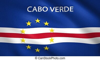Cabo Verde Flag in the foreground