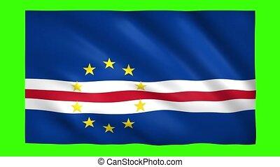 Cabo Verde Flag on green screen for chroma key