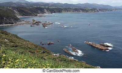 Cabo Vidio coastline (Asturias coast, Spain). - Summer...