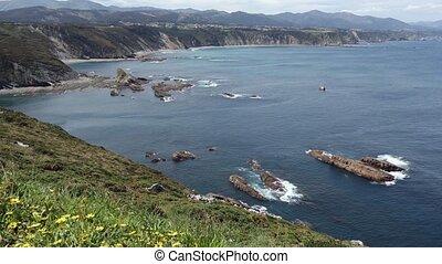 Cabo Vidio coastline (Asturias coast, Spain). - Summer...