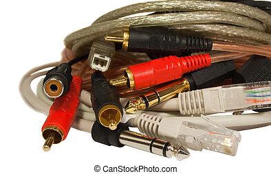 cabos, branca, closeup, isolado, pilha