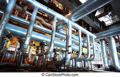 cabos, dentro, equipamento, modernos, encontrado, industrial, poder, tubagem, planta