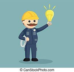 cabos, eletricista, gorda, bulbo