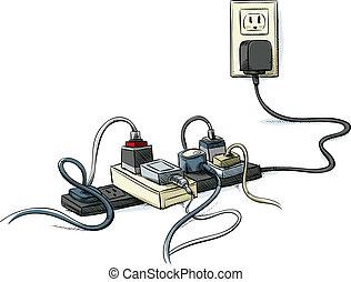 cabos, entrelaçado, poder