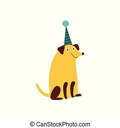 cabot, chien, cône, hat., sourire, assied