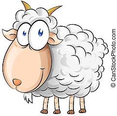 cabra, branca, isolado, fundo, caricatura