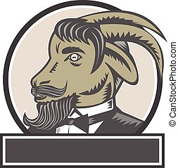 cabra, cabeça, woodcut, círculo, barba