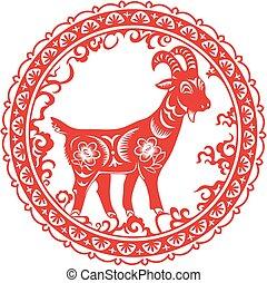 cabra, chinês, ano