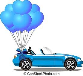 cabriolé, car, coração, azul, modernos, grupo, aberta, balões