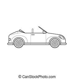 cabriolé, car, estilo, corporal, roadster, ilustração, esboço, ícone