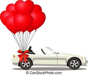 cabriolé, car, modernos, branca, balões, vermelho, grupo