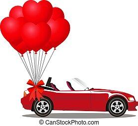 cabriolé, car, modernos, grupo, aberta, vermelho, balões
