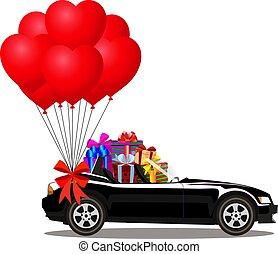 cabriolé, car, presentes, pretas, montão, balões, caricatura