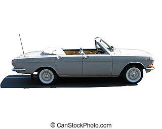 cabriolet, årgång, över, isolerat, retro, bakgrund, bil, rysk, vit