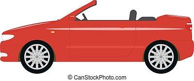 cabriolet, 自動車, イラスト, ベクトル, 漫画, 赤