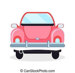 Cabriolet Back View, Pink Retro Automobile Vector
