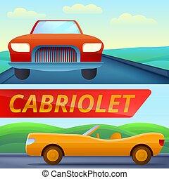 Cabriolet car banner set, cartoon style