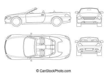 Cabriolet car in outline. Cabrio coupe vehicle template...