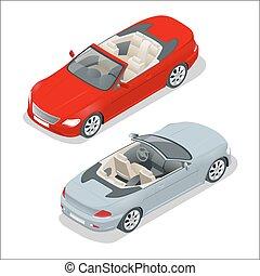 Cabriolet car isometric vector illustration. Flat 3d...