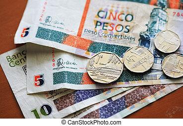 cabriolet, cubaine, pièces, notes, peso