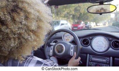 cabriolet., femme, jeune, conduite