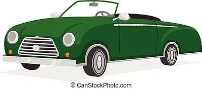 cabriolet, ilustración, retro