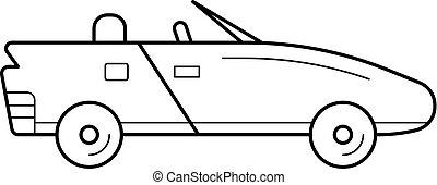 Cabriolet line icon. - Cabriolet vector line icon isolated...