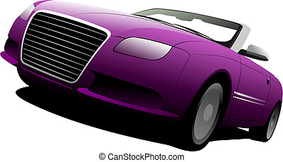 cabriolet on the road. Vector illustration