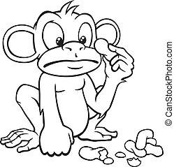 cacahuetes, blanco, negro, mono, caricatura