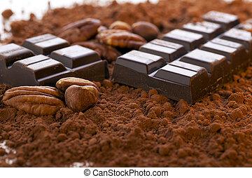 cacao, barra, polvo, chocolate
