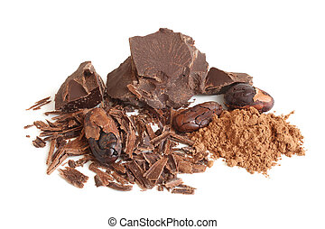 Cacao beans, cacao powder and chocolate on white background
