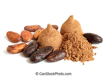 Cacao beans, cacao powder and chocolate sweets