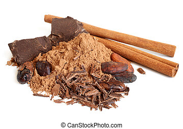 Cacao beans, cacao powder, cinnamon bark and chocolate