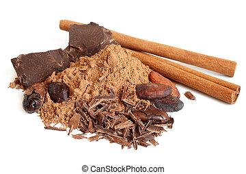 Cacao beans, cacao powder, cinnamon bark and chocolate