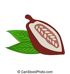 Cacao beans with leaves on white background. Flat design style. Vector illustration