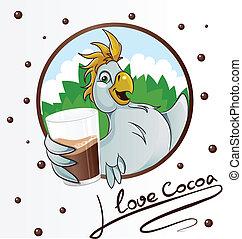 cacao, bevanda, pappagallo