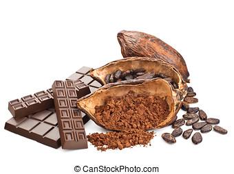 cacao, blanco, aislado, chocolate