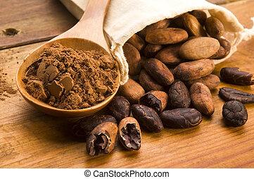 cacao, (cacao), frijoles, en, natural, tabla de madera