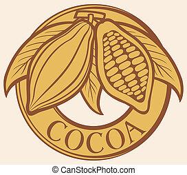 cacao, -, cacao, haricots, étiquette