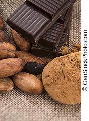 cacao, (cacao), haricots, chocolat