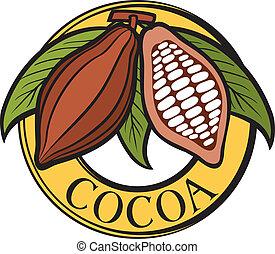 cacao, -, cacau, feijões, etiqueta