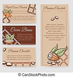 cacao, cartes, ensemble, haricots, chocolat