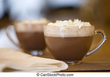 cacao, chaud, tasses