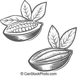 cacao chocolate logo - cacao beans monochrome simple...