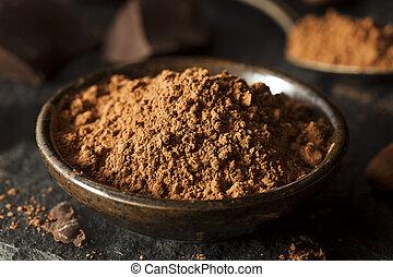 cacao, crudo, orgánico, polvo